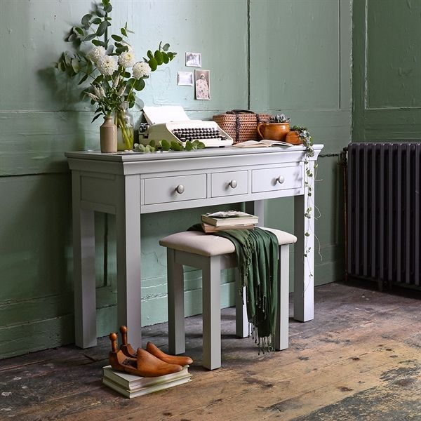 Chambery Grey Dressing Table from the Cotswold Company. Free Delivery and Free Returns. Styled with rustic mint green walls in a country home.