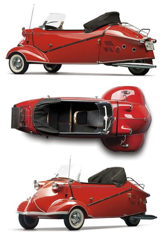 """1957 Messerschmitt KR 201 Roadster typically more than 95% of a car's energy is used just to move itself, The Carless Class is defined by eliminating this old fashioned """"car equation."""" Vehicles in The Carless Class still have a full fairing but often just 3 wheels, some have pedal and most have electric assist."""