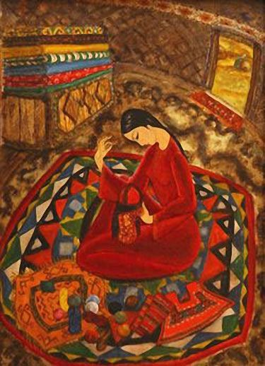 In the Yurt. 1979. Galiy Abdurakhmanova 1956.Graduated from the Art School in Ashkhabad and the Tashkent Theatre and Art Institute. Majority of her paintings can be described as genre scenes, but due to acute style of her painting, her bright and colourful works have a specific meaning. The subject matter is only the pretext for creating a joyful world. One can find a resemblance with ancient Oriental miniature painting in her works with a wide range of colours and a refinement of paintings.
