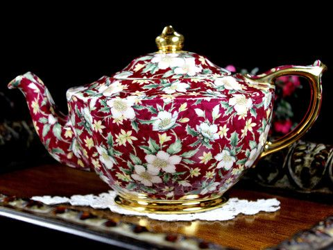 Sadler Teapot Tea Pot, Holiday Chintz, James Sadler Teapots