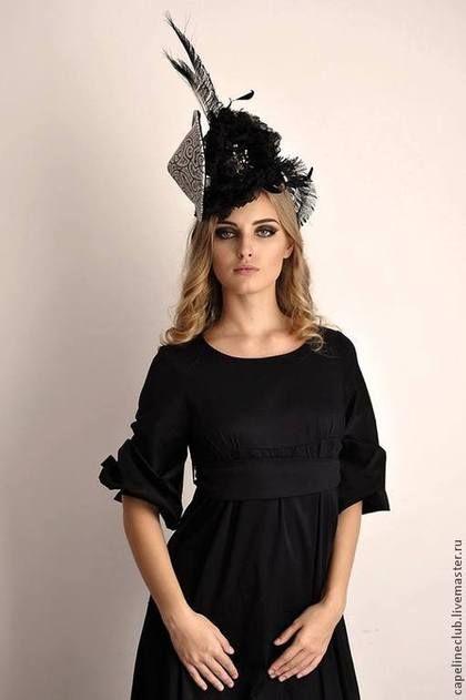 Вечерняя шляпа - чёрно-белый,коктейльная шляпа,вечерняя шляпа,шляпа для скачек