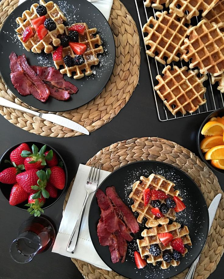"""As the song plays on the radio """"Everyday is Saturday night, but I can't wait for Sunday morning, Sunday morning..."""" We started our Sunday morning off right with whole wheat Belgian waffles and local beef bacon. Have a great day!!! #loveontfood @zimmysnook"""