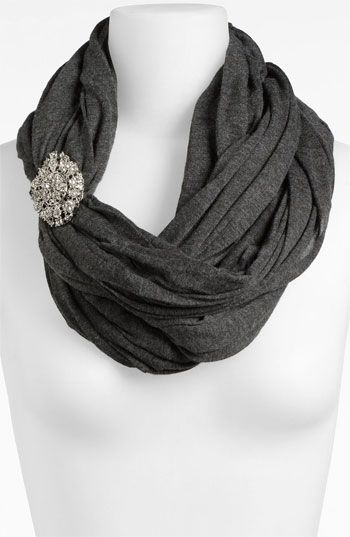 Tarnish Brooch Infinity Scarf | Nordstrom- brooch on scarf like this is a great idea.