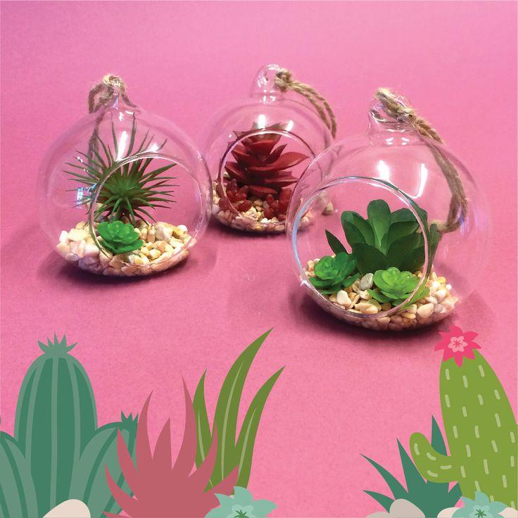 Bolas decorativas con mini cactus artificiales para colgar. #navidad #colgante #cactus