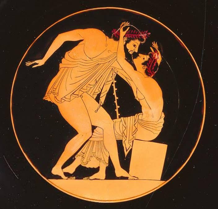 Vintage ancient greek erotic art coasters terra