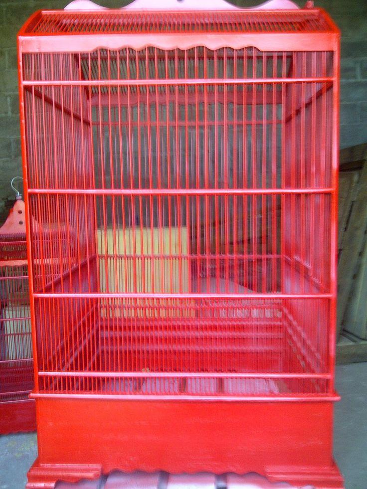 Jual Sangkar Burung Packing Rakitan Online: Sangkar Burung Murai Warna Merah Unggulan at @KabJombang