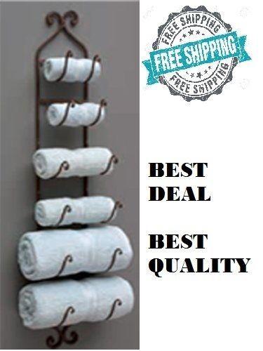 Cast Iron Brown Finish Wine Bottle Rack Bath Towel Holder Wall-Mount Home Decor   Home & Garden, Home Improvement, Plumbing & Fixtures   eBay!