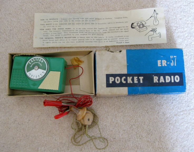 Child's Vintage Germanium Crystal Pocket Radio, Model ER 57, Made In Japan. Collector's piece by MullardAntiques on Etsy