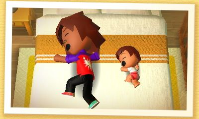 Foxy and his baby Faith in Tomodachi Life omg this is cute love how Faith is copying Foxy's pose and everything XD