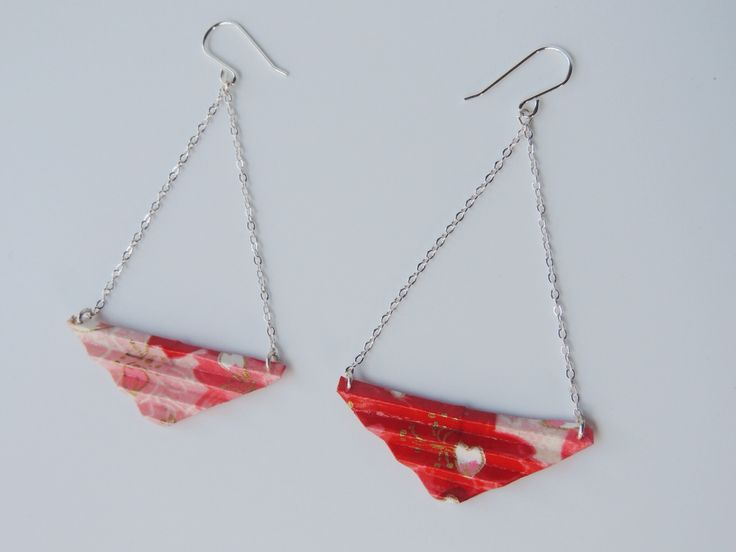 Erigami Design origami triangle drop earrings with sterling silver fixings - a one-off design! #origamijewellery #handmade #earrings
