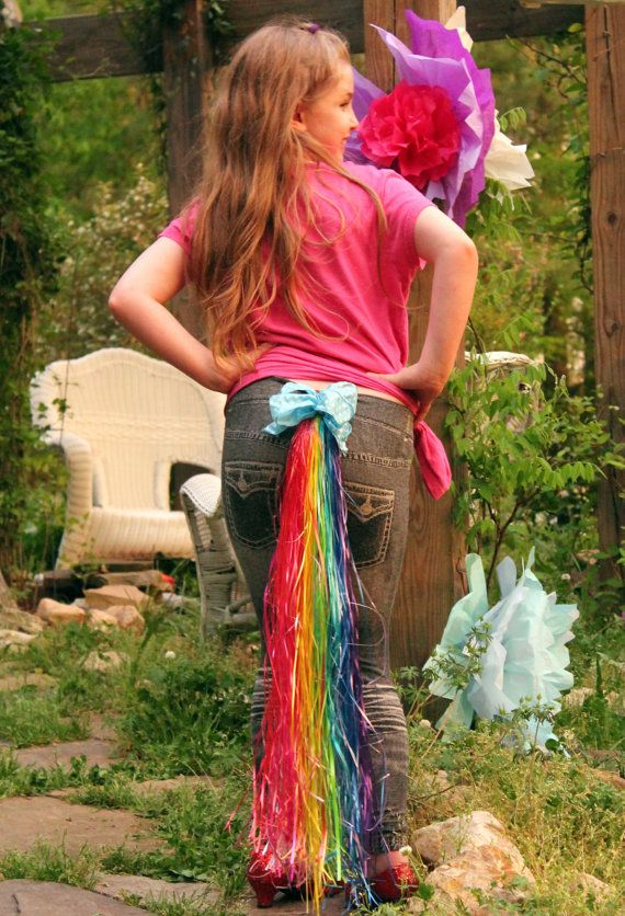 Clip on pony tail , my halloween costume design , little horse dressup. pony cosplay ,tinker tails Jellybeans pony party ponies rainbow