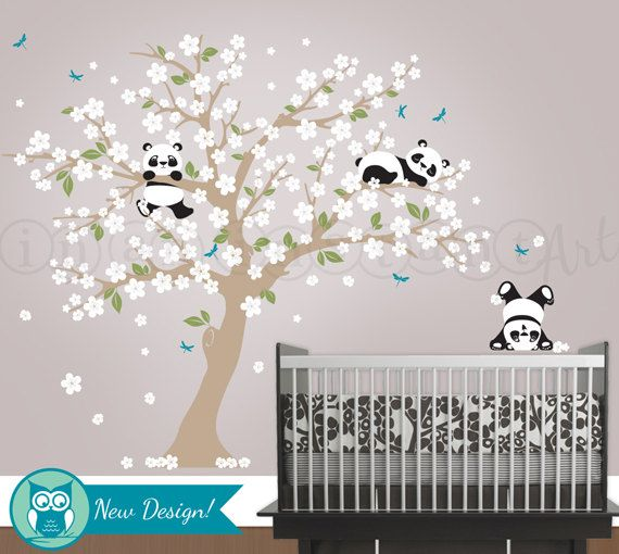 Panda and Cherry Blossom Tree Wall Decal Panda by InAnInstantArt