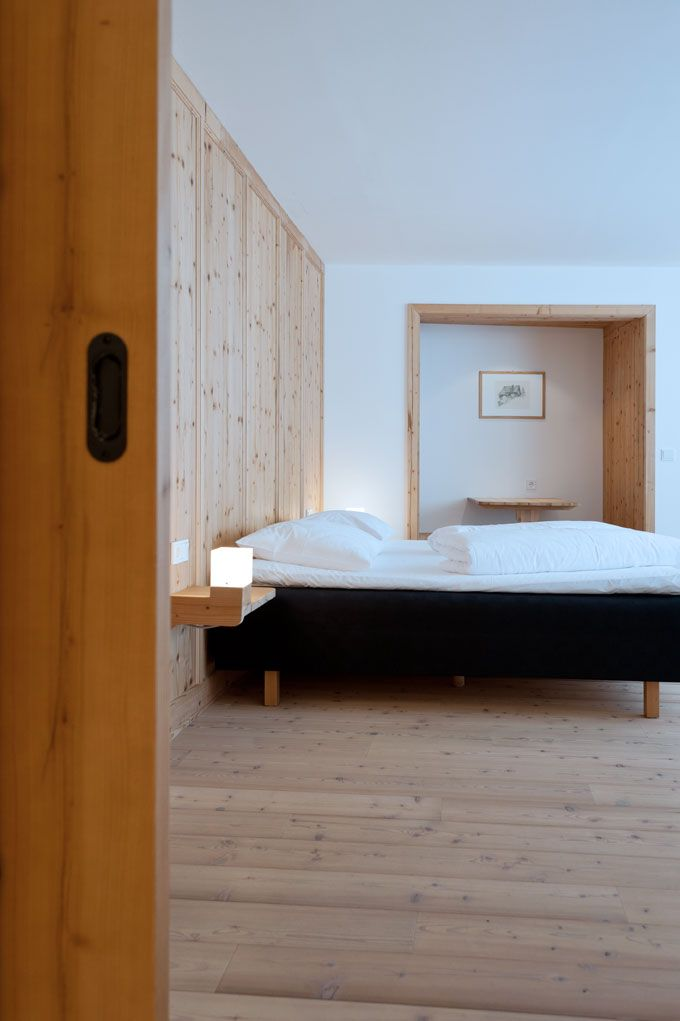 Hotel room with #natural untreated #wood #Hotelzimmer #Naturholz