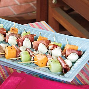 Melon, Mozzarella, and Prosciutto Skewers | *****5Star Rating...Alternate honeydew and cantaloupe for a colorful platter of Melon, Mozzarella, and Proscuitto Skewers.