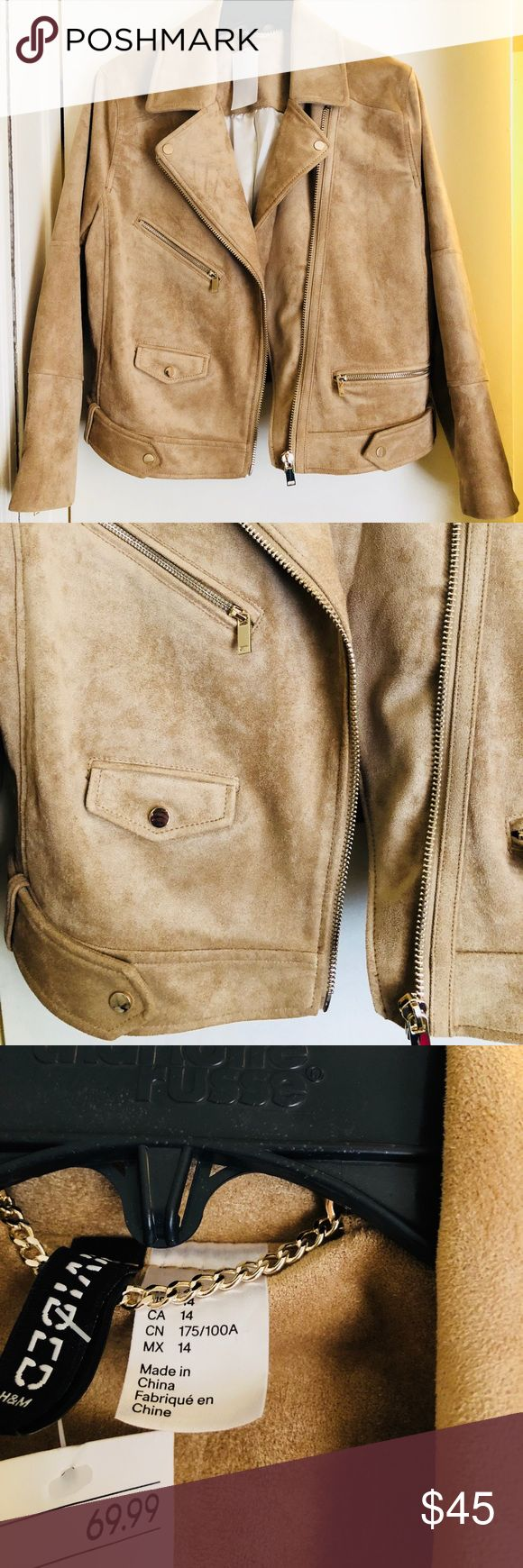 Beige/Tan Suede H&M Biker Jacket Brand new never worn with tags beige/tan suede H&M biker jacket! Awesome gem to find! Perfect for the fall/winter weather! Can be paired with a casual or formal outfit! Even though it is a size 14 it does run more so on the smaller side so I think it would somebody that is a true size 8 or 10! #hm #bikerjacket #fashiontrending #stylish2017 #gift #giftyourself #xmaaspresent #warm H&M Jackets & Coats