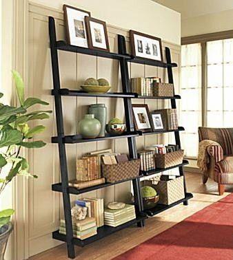 ladder shelf of original pieces and memories