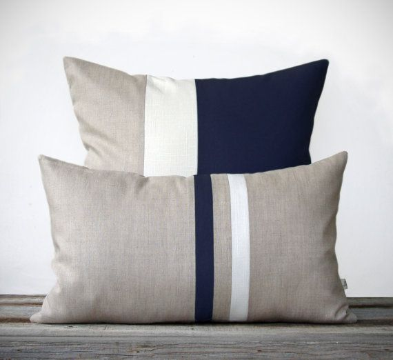 navy decorative pillow set 12x20 stripe and 20x20 color block by - Home Decor Cushions