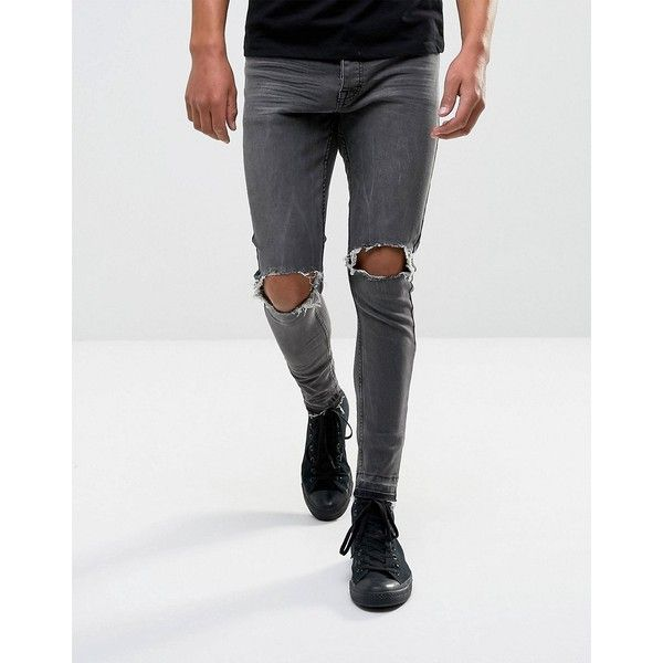 Brave Soul Ripped Denim Jeans ($42) ❤ liked on Polyvore featuring men's fashion, men's clothing, men's jeans, blue, mens destroyed jeans, mens blue ripped jeans, mens destroyed skinny jeans, mens skinny jeans and mens super skinny ripped jeans