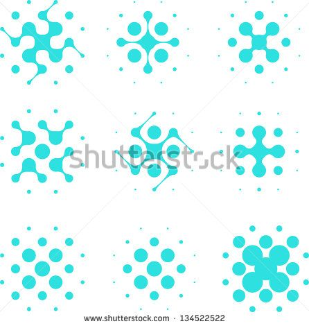 Design halftone circle cell element. Abstract water molecule vector logo template set.You can use in the media, mobile, water ,biology, chemistry, science and other commercial image.