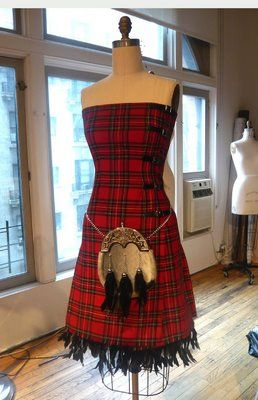 gorgeous tartan dress: would need to add a jacket ~ love the sporran! Aye!