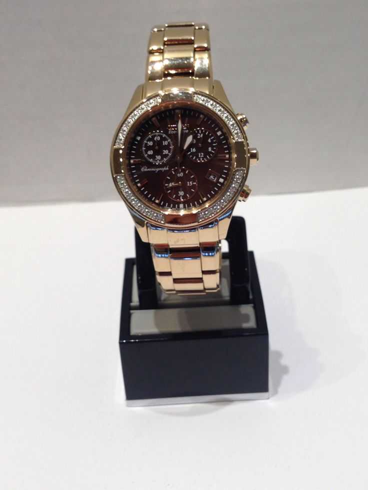 Ladies Citizen EcoDrive rose with brown face and crystals