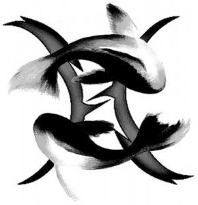 Awesome tattoo of the pisces zodiac symbol