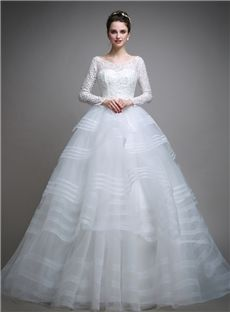 All Sizes Spring Ball Gown Long Sleeves Lace-up Jewel Elegant & Luxurious Tiered Wedding Dress