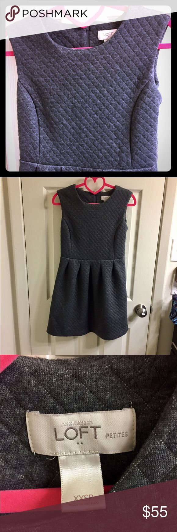 Soft Quilted Gray Fitted Petite Dress Soft Quilted Gray Fitted Petite Dress from Ann Taylor Loft. So soft and comfy, perfect for a long day at work or a private date night. All bundles receive a free gift! 👏🏻💕 LOFT Dresses Midi