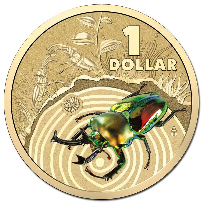 2014 $1 Bright Bugs - Stag Beetle Colour AL/BR UNC