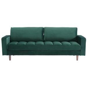 ADAM Canapé droit fixe 3 places - Tissu velours capitonné vert - Vintage - L 216 x P 85 cm