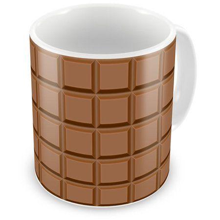 Caneca de Porcelana Barra de Chocolate Ao Leite