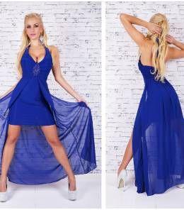 Κομψό μίνι φόρεμα με ουρά-blue royal