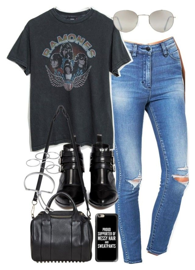 """Outfit with ripped jeans and a band tee"" by ferned on Polyvore featuring Forever 21, Tabitha Simmons, Alexander Wang, Casetify, Apt. 9 and Monica Vinader"