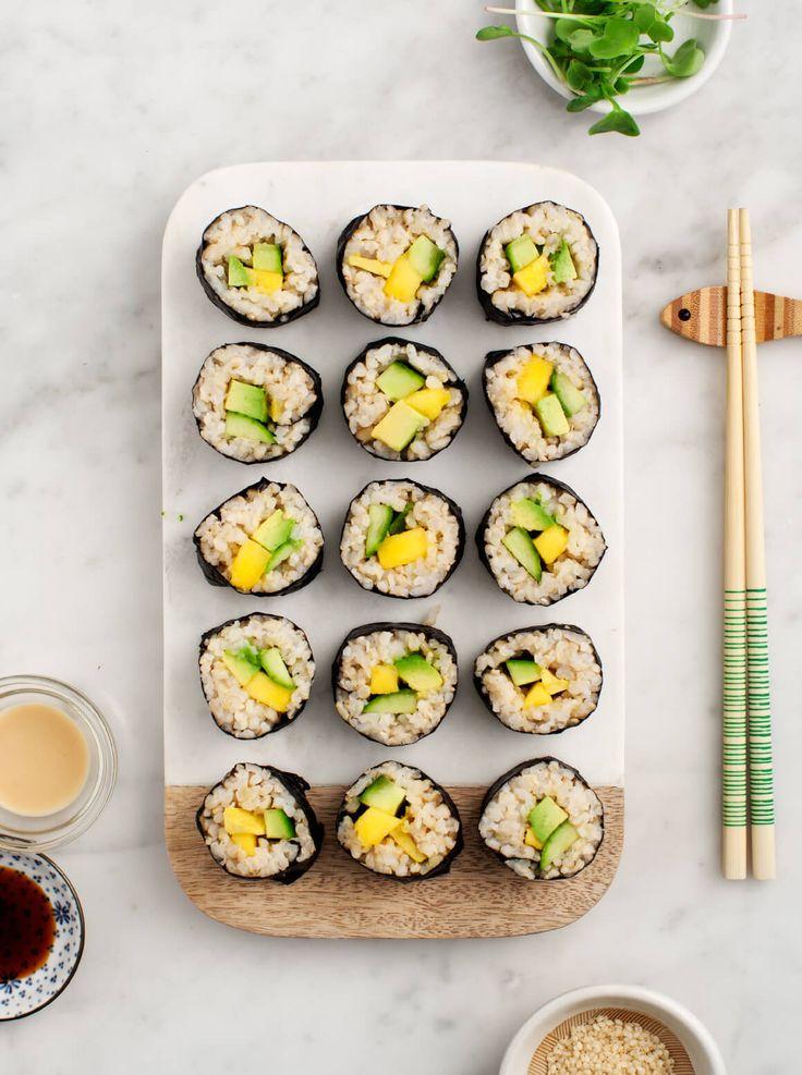 Avocado and Mango Brown Rice Sushi - Healthy at-home sushi. Vegan and gluten free.