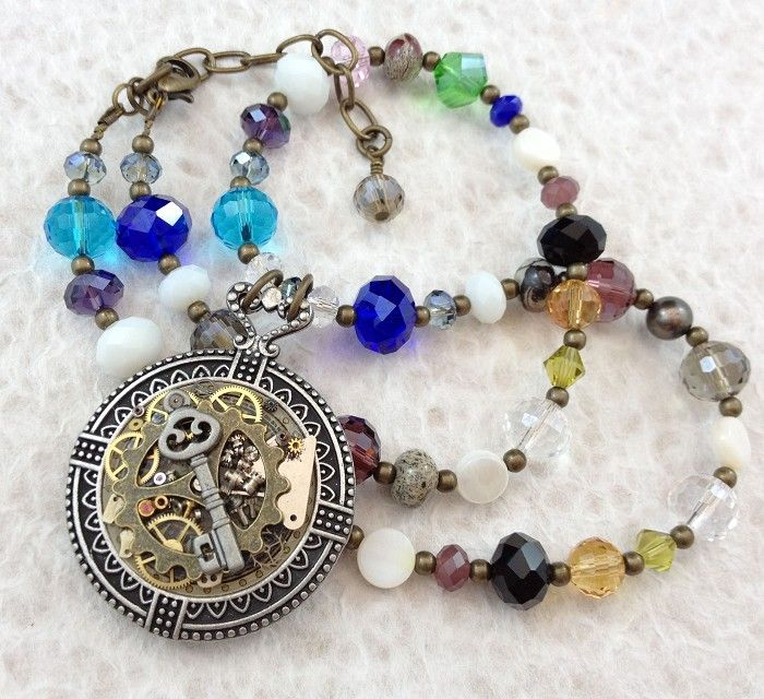Steampunk Inspired Clock and Key Pendant on Crystal Necklace | Adornment | madeit.com.au