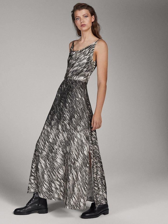 limited edition printed dress women massimo dutti