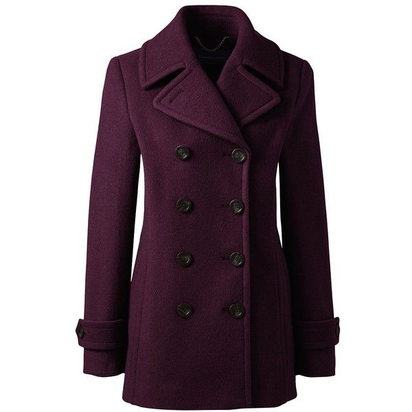 Lands' End Women's Petite Wool Peacoat ($179) ❤ liked on Polyvore featuring outerwear, coats, red, pea jacket, woolen coat, wool coat, red peacoat and lands end coats