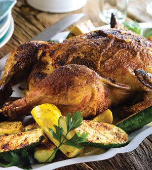 Smoky-Sweet Beer Can Chicken with Grilled Veggies