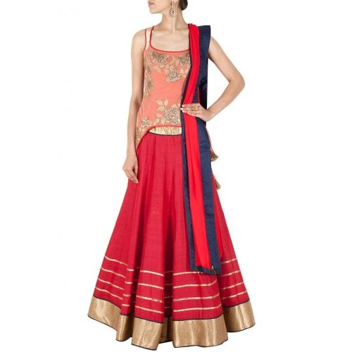Buy Red net overlay embroidered lehenga set By  Monica and Karishma online in India at best price. This lehenga set features a red raw silk lehenga with gold stripes wide border and red fitted corse