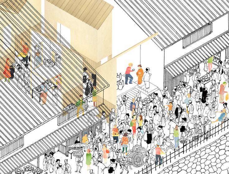 Tonoma Architects. Ceramic market of Hazama. Osaka. Japan. drawings: Yukako Taniguchi