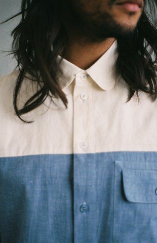 TWO COLOUR SHIRT  Two colour shirt comes in a pure cotton fabric, featuring a rounded collar and one breast pocket.