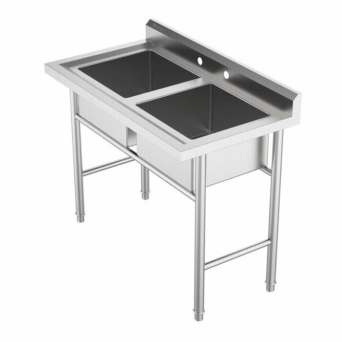 Ktaxon Commercial 304 Stainless Steel Sink 2 Compartment 39 37 X