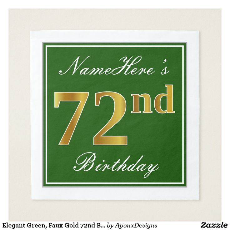 Elegant Green, Faux Gold 72nd Birthday + Name