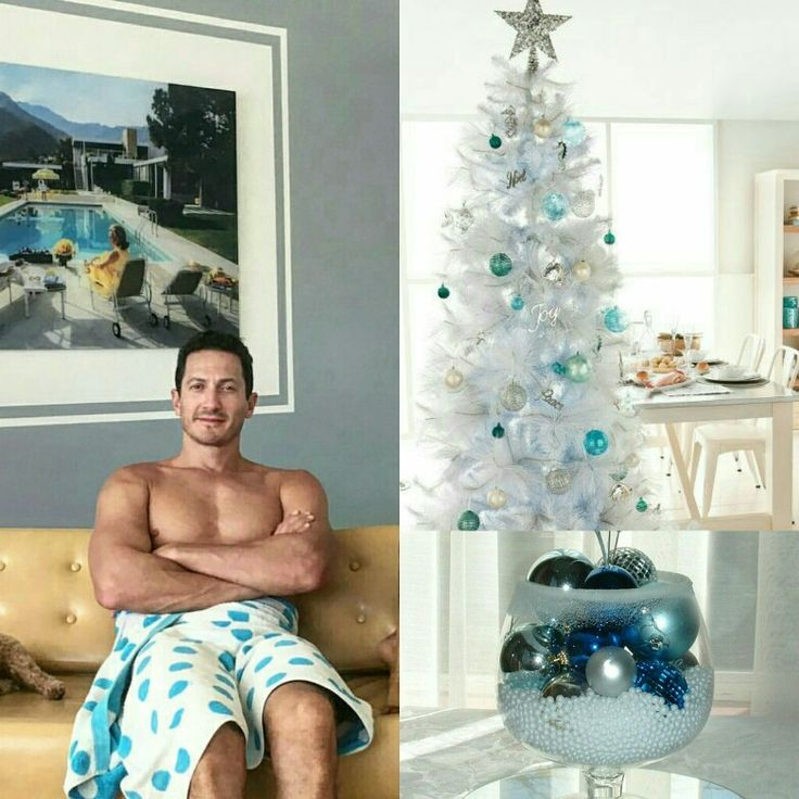 When you get sudden idea for the white Christmas tree with only blue ornaments and you don't know why only white & blue combo ... and then you remember this pic from Mr Sasha Roiz looking really nice with the same combo
