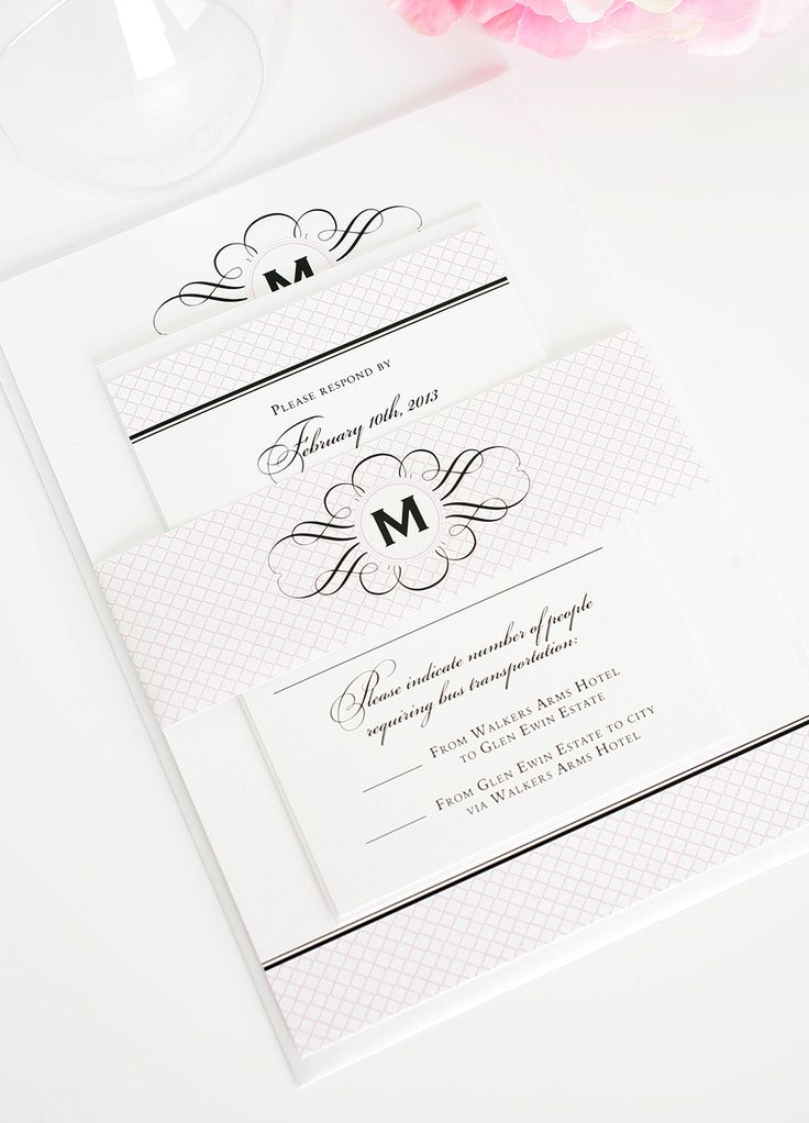 Vintage Wedding Invitations With Pink Crosshatch