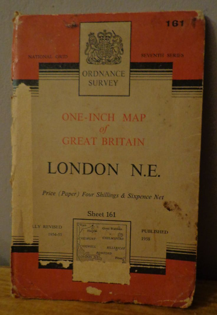 Vintage Ordnance Survey  Map, One Inch Map of Great Britain London N.E. Seventh Series Sheet 161 - Revised 1954 - 55, Published 1958 (Paper) by OnyxCollectables on Etsy