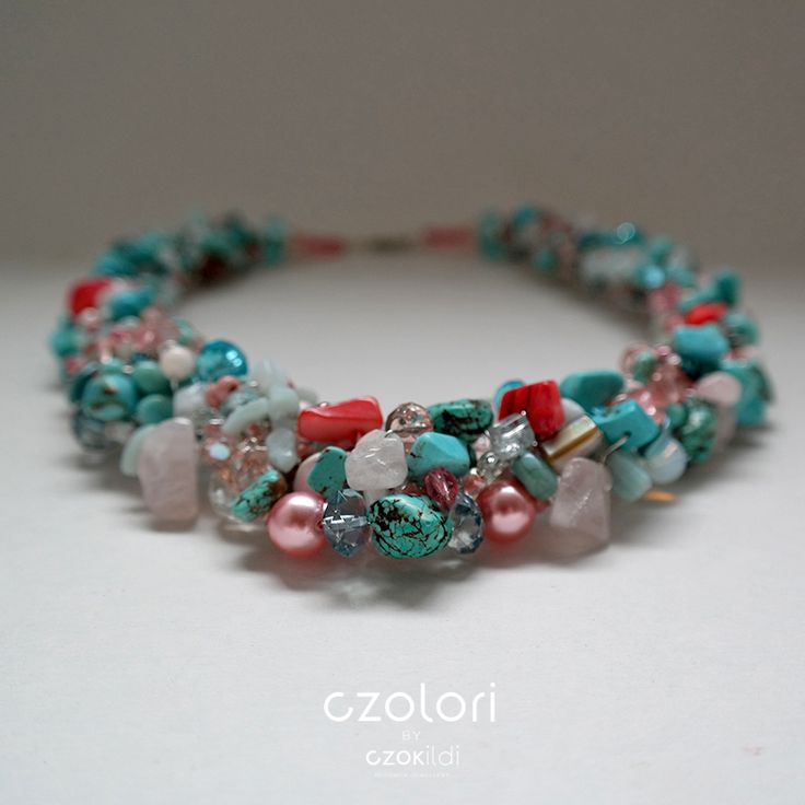Turquoise – Red Poppy Beaded Necklace