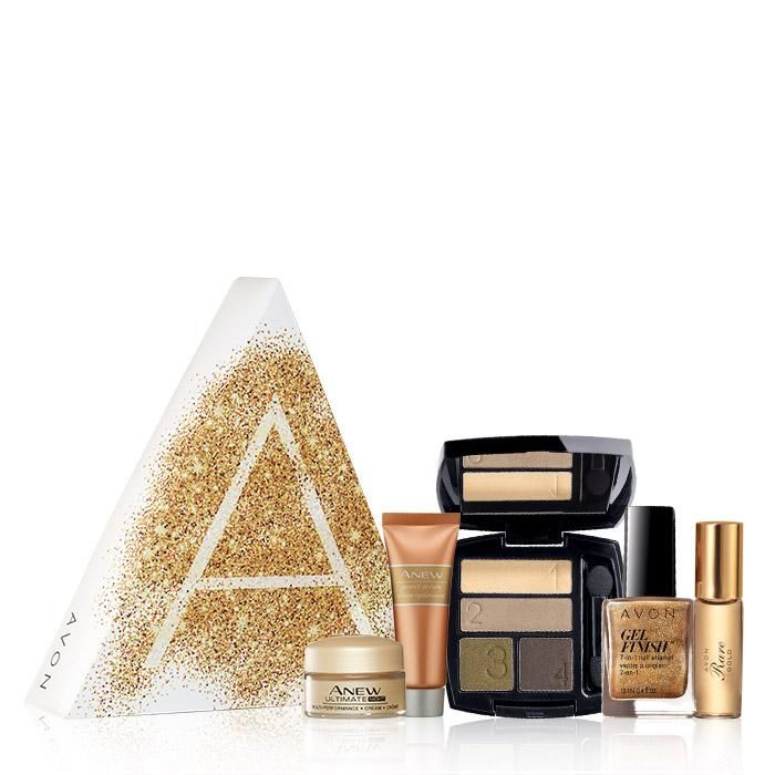 The A Box: The Beauty of Gold- Only $10 with your $40 purchase!  Indulge in golden luxury... Anew for glowing skin, a scent to be treasured and sparkling lip and eye color, handpicked just for you.