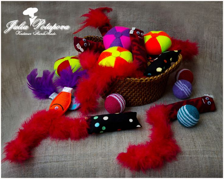 Basket with catnip toys HandMade