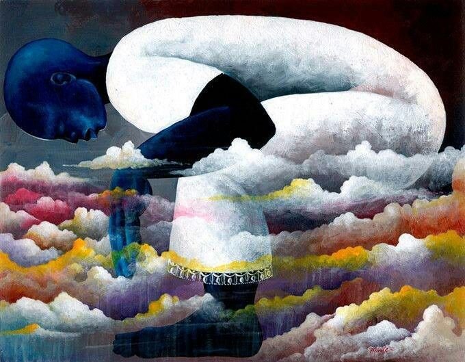 Obatala watches from the heavens - artist unknown